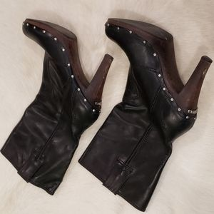 Leather Michael Kors Motorcycle Stiletto Bootie